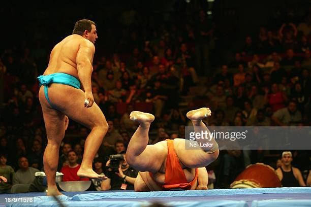SUMO Battle of the Giants Bulgaria Petar Stoyanov in action throwing Japan Mitshuhiko Fukao out of ring at Madison Square Garden New York NY CREDIT...