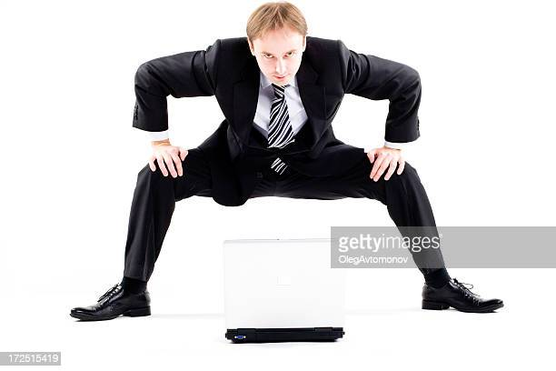 sumo-businessman against laptop