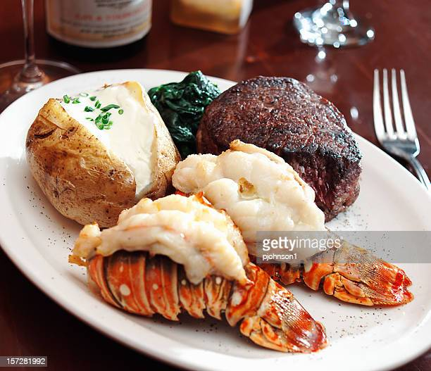 A sumptuous meal of surf and turf with lobster