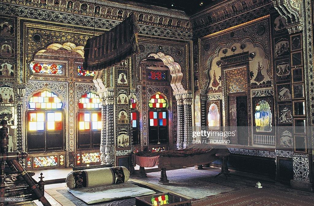 A sumptuous room of Mehrangarh Fort, Jodhpur, Rajasthan, India.