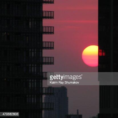 Sun Apple. Downtown Framed : Stock Photo