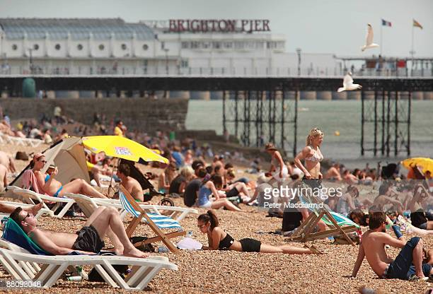 Sun bathers enjoy the sea front on June 1 2009 in Brighton England The United Kingdom is enjoying a blisteringly hot start to the summer with...