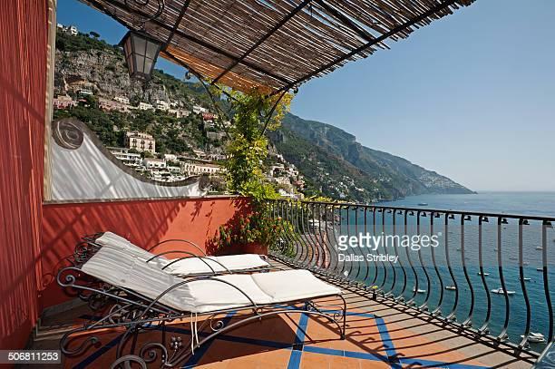 Sun beds on terrace of Miramare Hotel, Positano