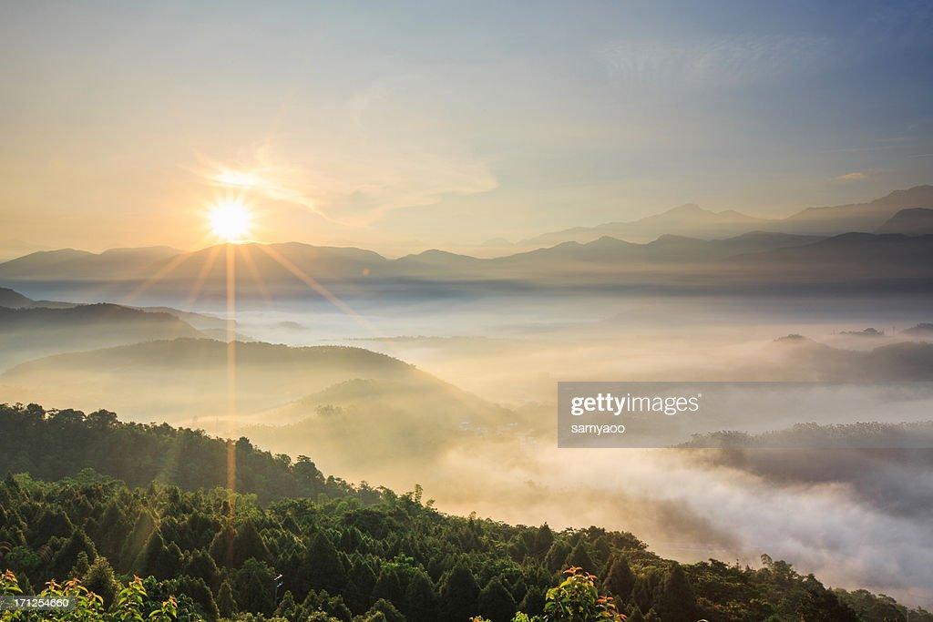 Sun burst over misty valley in cloud sea : Stock Photo