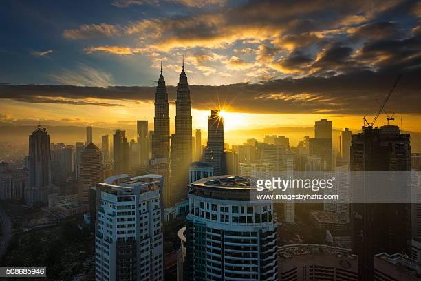 Sun Burst Sunrise at Kuala Lumpur
