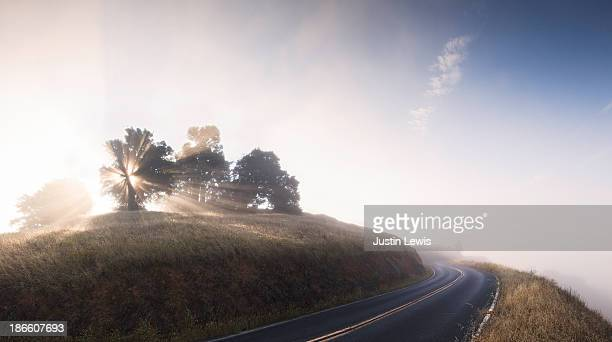 Sun bursting through mist on mountain paved road