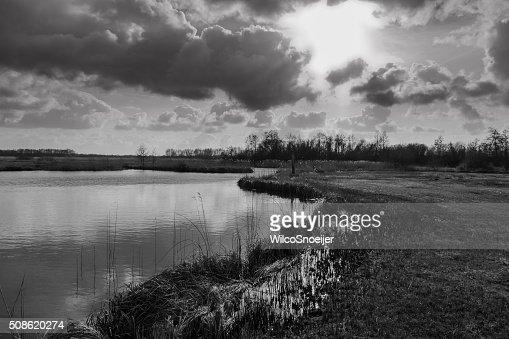 Sun comes true the clouds, national park Weerribben-Wieden : Stock Photo