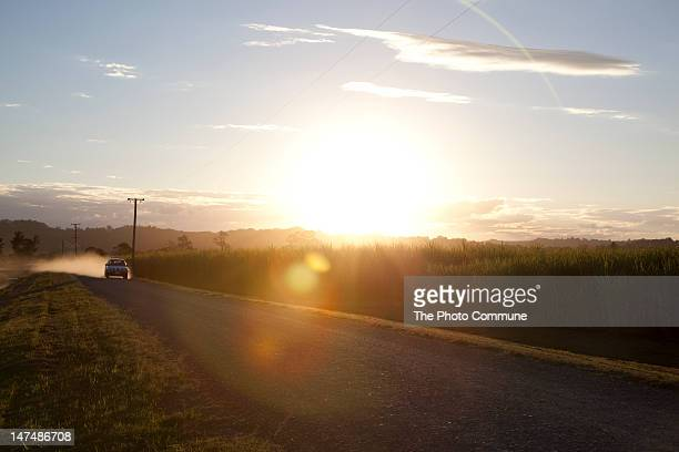 Sun flare on Australian country road landscape