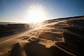 Sun flare over a sand dune, Maitlands Beach, Port Elizabeth, Eastern Cape, South Africa