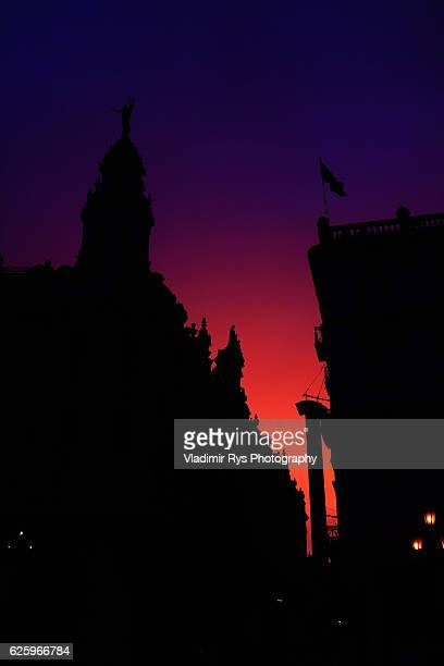 Sun goes down over the Inglaterra hotel and the Central Park of the city of Havana on November 08 2016 in Havana Cuba