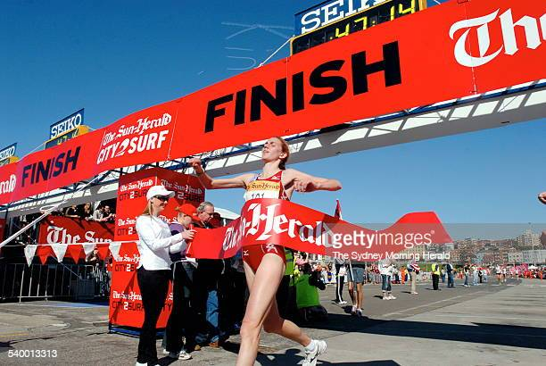 Sun Herald City to Surf 2006 Female winner Anna Thompson crosses the finish line in first place with a time of 47 minutes and 15 seconds at the end...