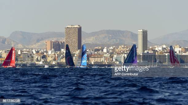 MAPFRE Sun Hung Kai Scallyawg Vestas 11th Hour Racing Akzonobel and Dongfeng teams sail off the coast of Alicante southeastern Spain on October 14...