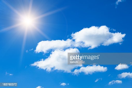 Sun in blue sky with clouds.