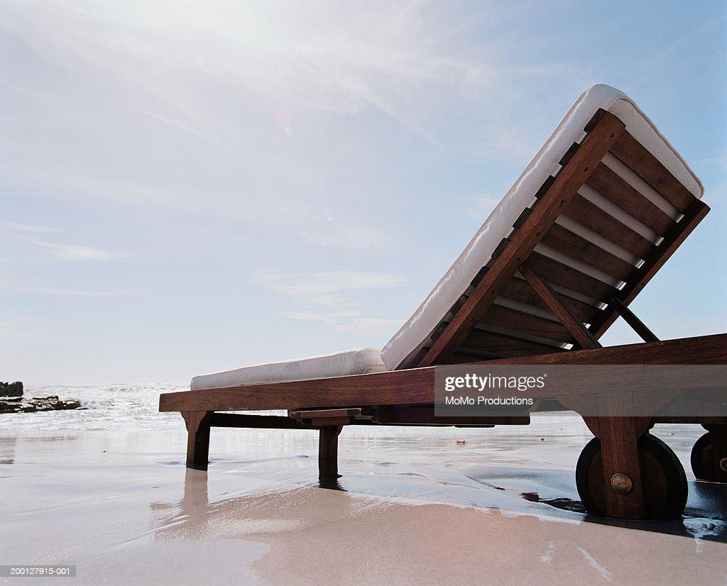 Sun lounger on beach : Stock Photo