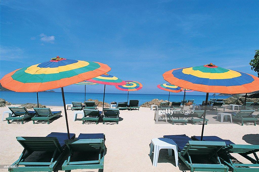 Sun Loungers and Parasols on Patong Beach, Phuket Island, Thailand