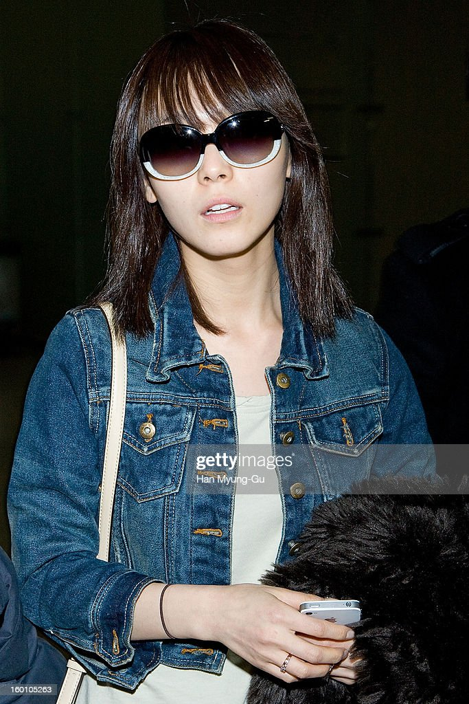 Sun Min of South Korean girl group Wonder Girls is seen on departure at Incheon International Airport on January 26, 2013 in Incheon, South Korea.
