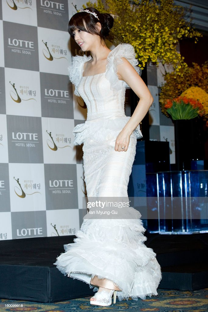 Sun Min of South Korean girl group Wonder Girls poses for Media prior to her wedding with groom James Park at Lotte Hotel on January 26, 2013 in Seoul, South Korea.