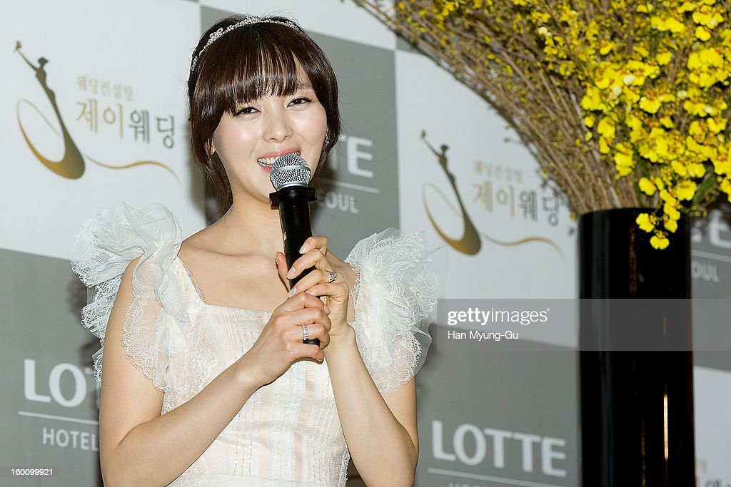 Sun Min of South Korean girl group Wonder Girls talks with Media prior to her wedding with groom James Park at Lotte Hotel on January 26, 2013 in Seoul, South Korea.