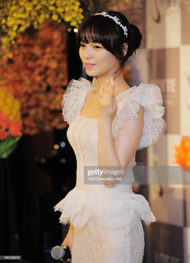 Sun of Wondergirls poses for photographs before her wedding at lotte hotel on January 26, 2013 in Seoul, South Korea.