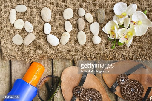 Sun protective objects for a woman. Background : Stock Photo