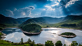 Sun rays on Haweswater, The Lake District, Cumbria, England