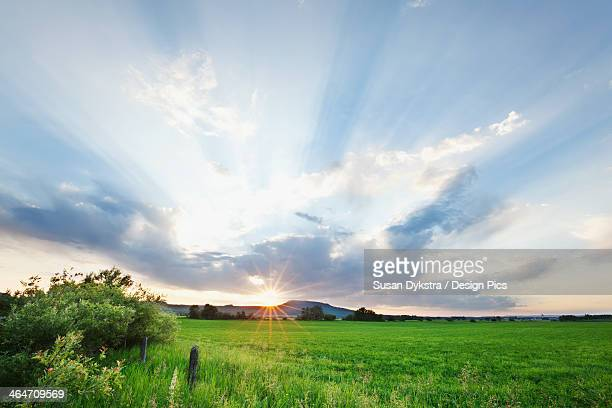 Sun Rays Through Clouds Over A Green Field