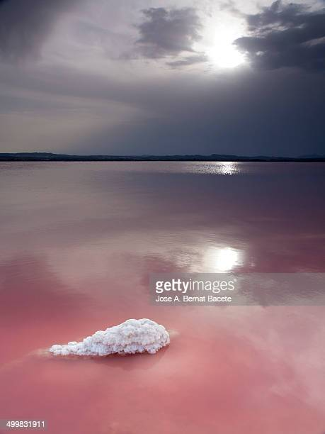 Sun reflecting on the toxic water in a salt mine