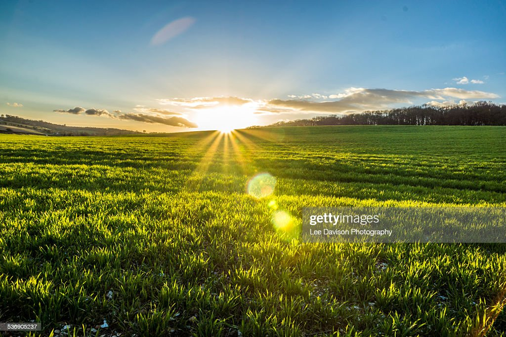 Sun rise at Potten End : Stock Photo