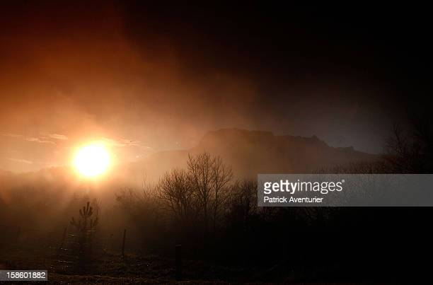 Sun rise in Bugarath a small village in the foothills of the Pyrenees on December 20 2012 in Bugarach France Miviludes the French Government's...