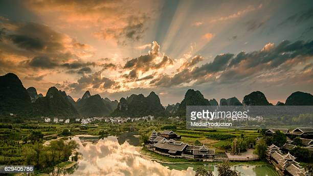 Sun rise on karst mountains and river Li in Guilin