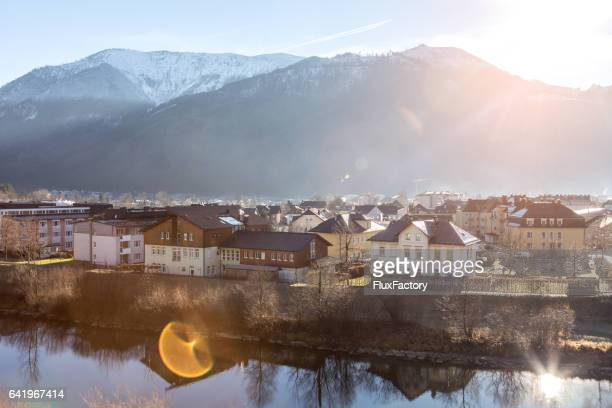 Sun rising in small town