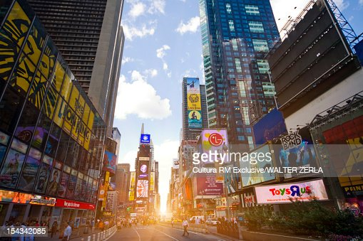 Sun rising in Times Square, New York : Stock Photo