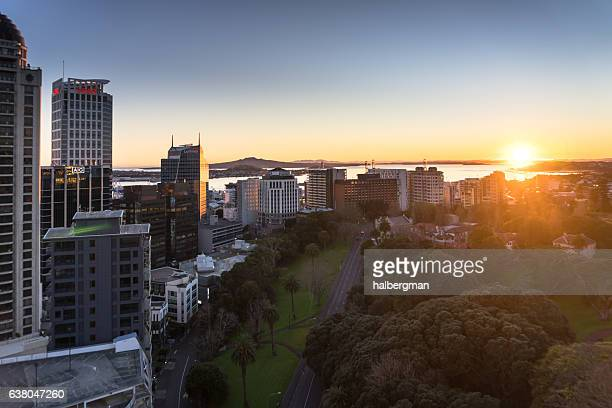 Sun Rising Over Auckland City Centre