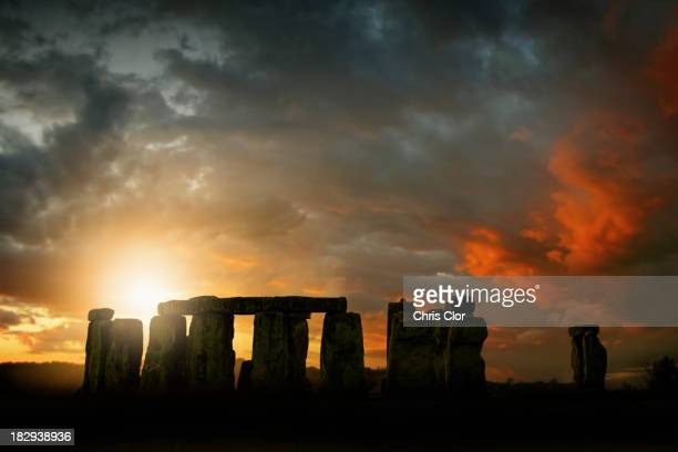 Sun rising over Stonehenge, Wiltshire, United Kingdom