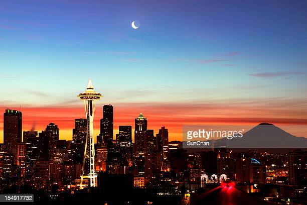 Sun rising over the city of Seattle