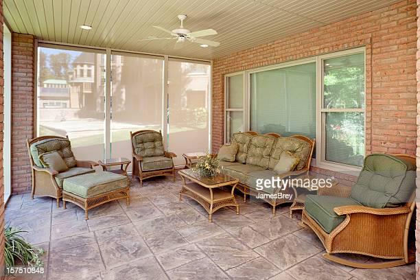 Sun Room; Wicker Furniture, Tile Floor, Rocking Chair, All Season
