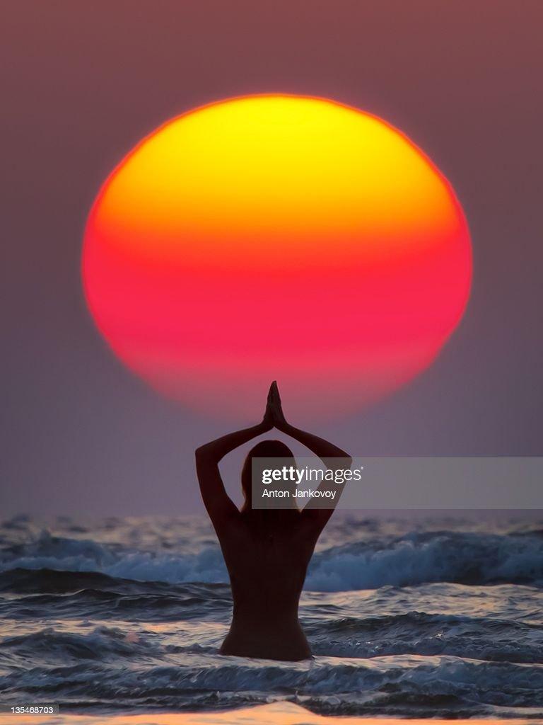 Sun Salutation (Surya Namaskar) : Stock Photo