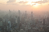 Sun set over the skyscrapers of Puxi