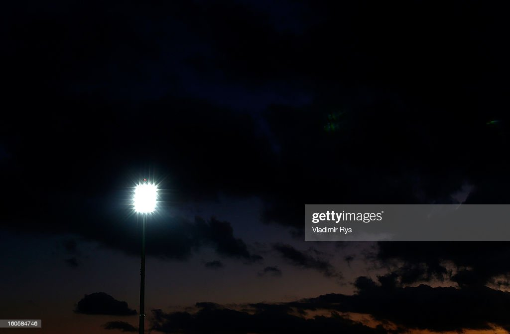Sun sets down over the stadium during the Superleague match between Asteras Tripolis and Panathinaikos FC at Asteras Tripolis Stadium on February 2, 2013 in Tripolis, Greece.