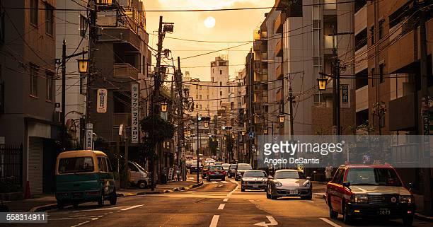 Sun sets over Tokyo street