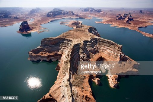 Sun shining on Lake Powell