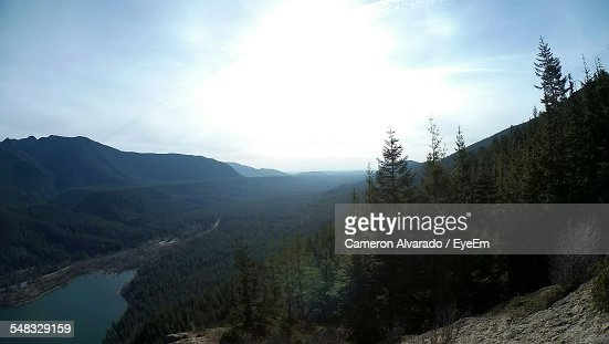 Sun Shining Over Forest Surrounded By Mountains