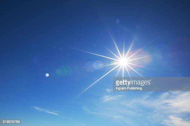 Sun shinning in blue sky