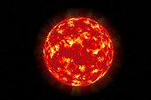 Sun solar surface texture sphere illustration isolated on a celestial star background