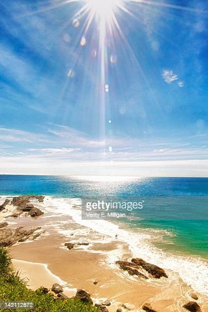 Sun star over Burleigh Beach