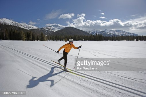 USA, Sun Valley, Idaho, mature man cross-country skiing