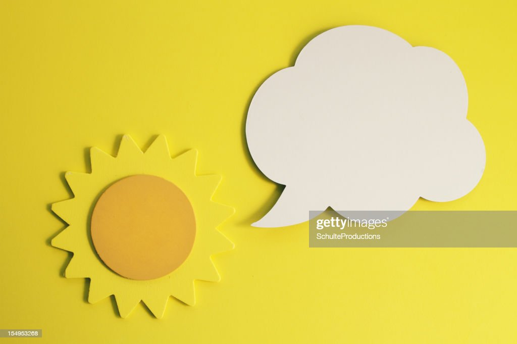 Sun with Cartoon Balloon : Stock Photo