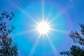 Sun with rays on a blue sky background. Background image.