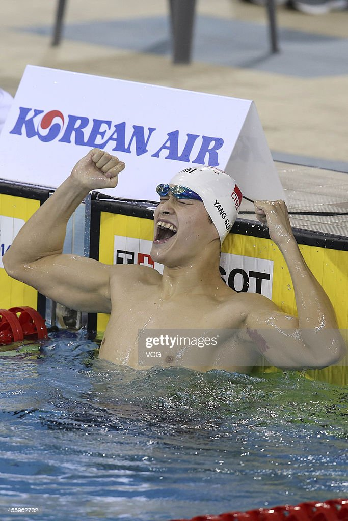 <a gi-track='captionPersonalityLinkClicked' href=/galleries/search?phrase=Sun+Yang+-+Swimmer&family=editorial&specificpeople=5492571 ng-click='$event.stopPropagation()'>Sun Yang</a> of China reacts after becoming the quickest competitor to qualify for the final of the Men's 400 m freestyle during day four of the 2014 Asian Games at Munhak Park Tae-hwan Aquatics Center on September 23, 2014 in Incheon, South Korea.
