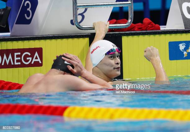 Sun Yang of China reacts after he wins the Men's 200m Freestyle during day twelve of the FINA World Championships at the Duna Arena on July 25 2017...